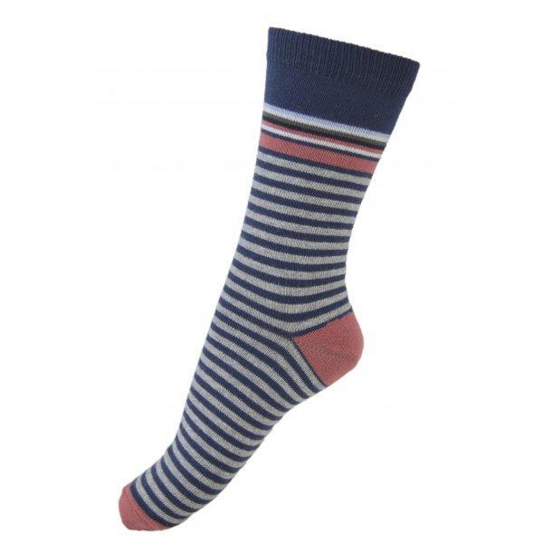 Melton Socken - Grau, Navy, weiß und Rot gestreiften