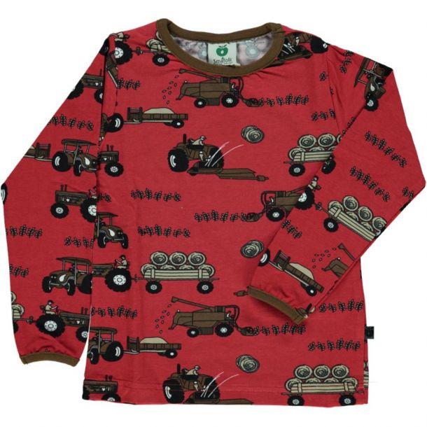 Smafolk Shirt in dark red mit Ernte-Maschinen