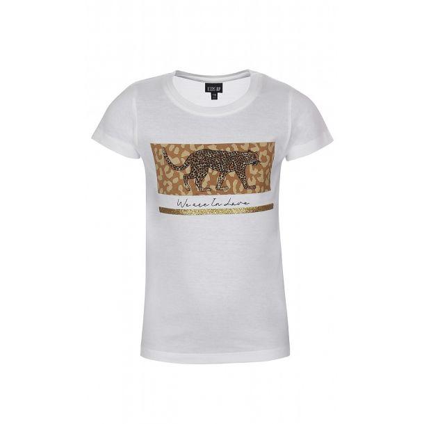 Kids Up - Schönes weißen T-Shirt mit Leopard und Glitter