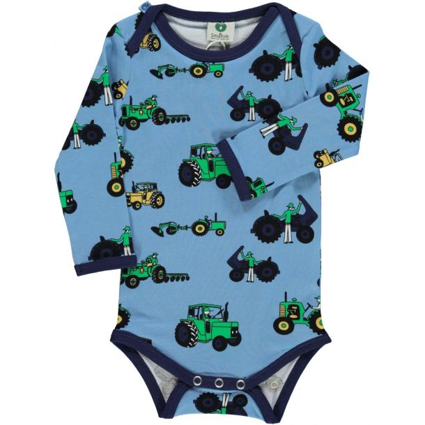 Smafolk - Body in hellblau med Traktoren und Landwirt-Maschinen
