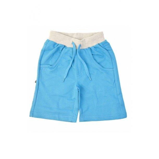 Shorts in weich türkis Sweat mit grau Kante an der Taille