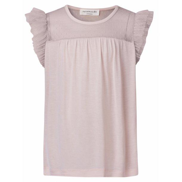 Rosemunde T-shirt in schöones Seide-Baumwolle - ROSE mit Rüschen