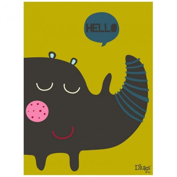 D' luks by us Bild mit einem Nashorn 18x24 Cm