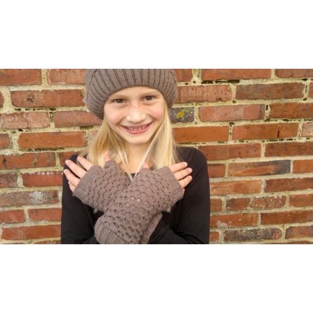 Coole braune Strickhandschuhe ohne Fingern