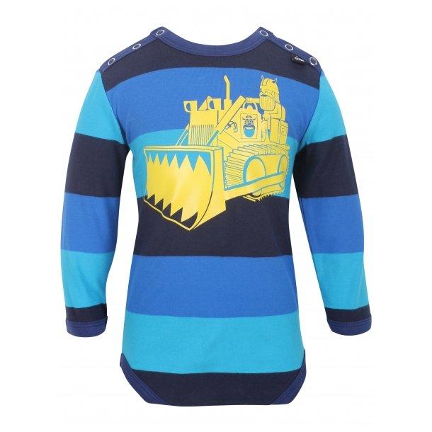 Tollem Body in blaue und schwarze Streifen mit cool gelbem Bulldozer
