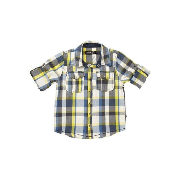 Blau-weiß-gelb kariertes Hemd