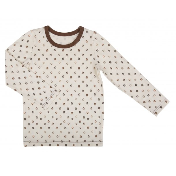 Classics Bio Schlafanzug Cremefarben mit braune Mini Äpfeln - von Katvig