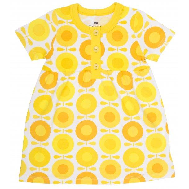Bio-Sommerkleid, weiss mit gelbe und Orange Äpfeln