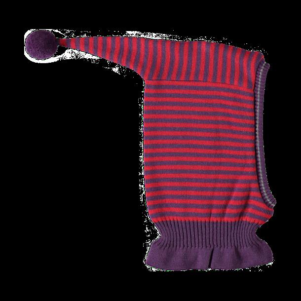 Geringelte Woll - Schalmütze mit Bommel