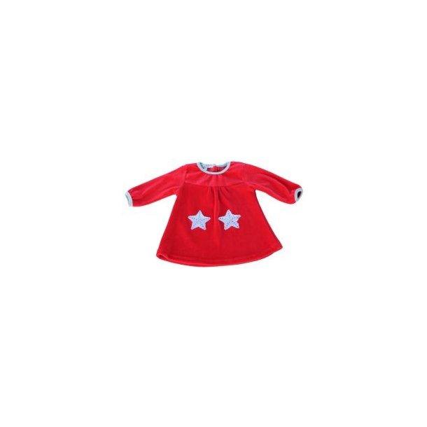 Velours Kleid in Rot mit Graus Einfassungen und zwei Silberne Sternchen