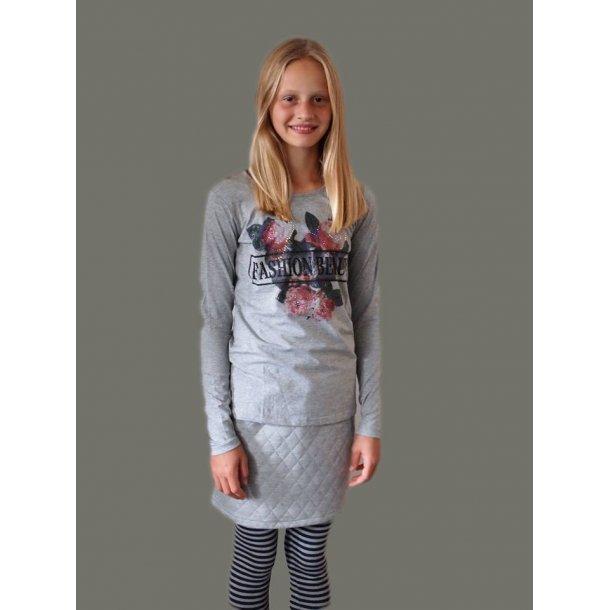 Rose Bluse von Creamie in grau mit Print und Steine