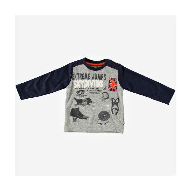 Graumeliertes Baby Shirt mit Pilot Motiven