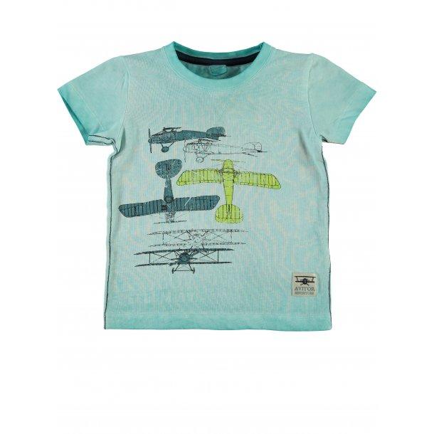 Mini, tolles T-Shirt in Türkis mit flugzeug, von Name it