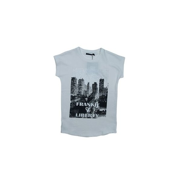 T-Shirt in off-white Sweat mit Silber City Druck