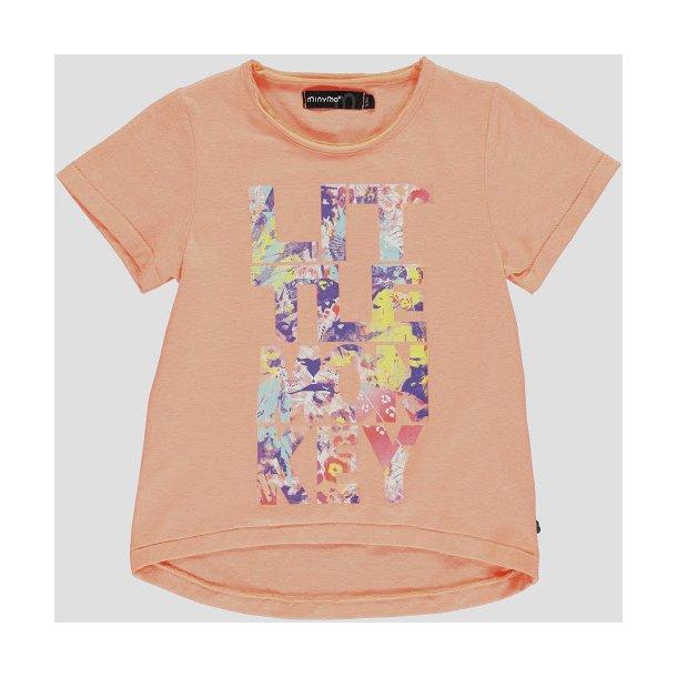 T-Shirt Neon Koralle mit Schrift in bunte Farbem