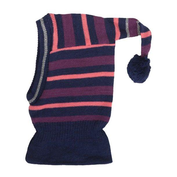 Geringelte Woll-Schalmütze mit Bommel
