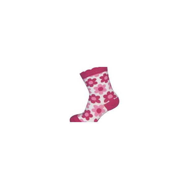 Weiße Socken mit pink Blumen