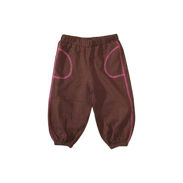 Bio-Baggy-Hosen, in brauner Baumwolle mit pink