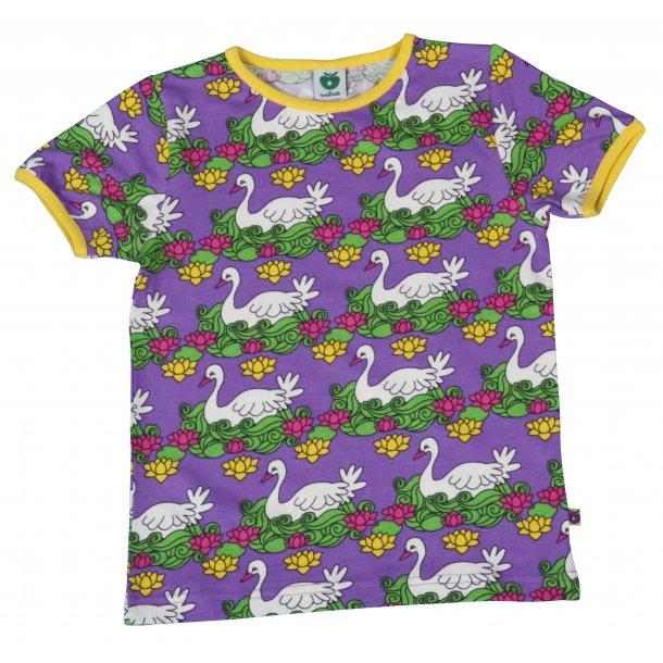 Lila T-Shirt mit weiße Vogeln