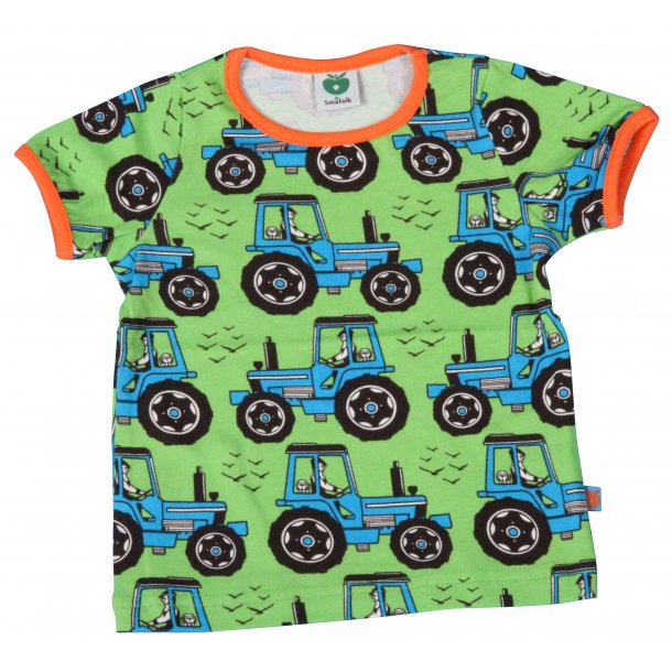 Schönes grünes Baby T-Shirt mit Traktoren