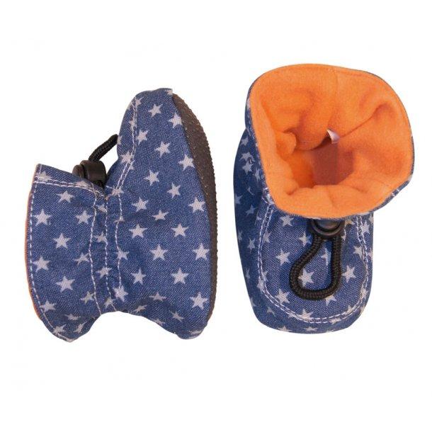 Hausschuhe in Cord, Jeans-blau mit Sterne und orange Futter