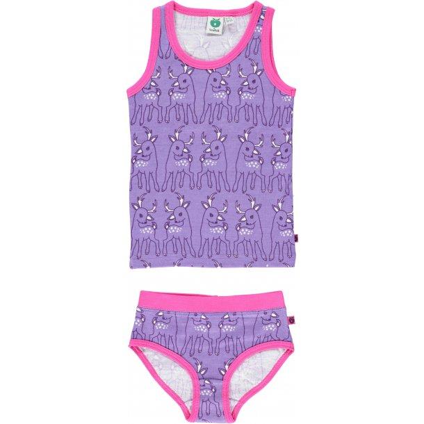 Unterwäsche in Lila mit Rehe und pink Einfassungen,  Wolle-Baumwolle
