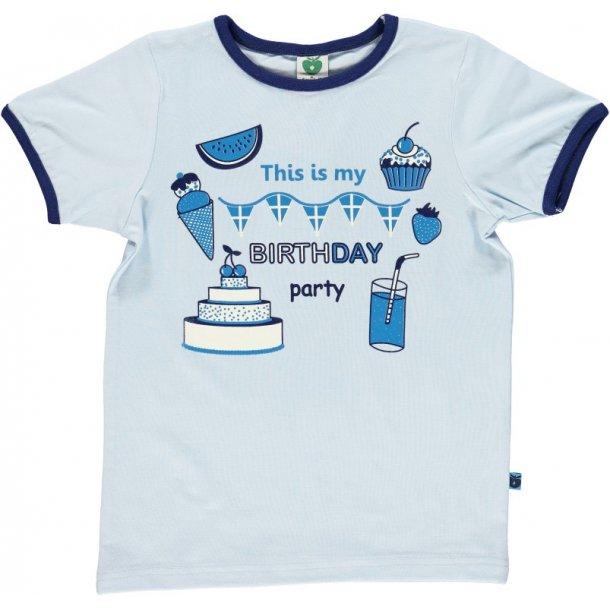 Hellblaues T-Shirt mit Geburtstagsfeiern von Smafolk