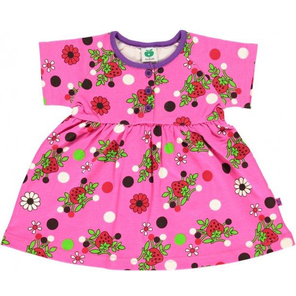 Süßes pink Kleid mit Erdbeeren und Blumen mustern von Smafolk