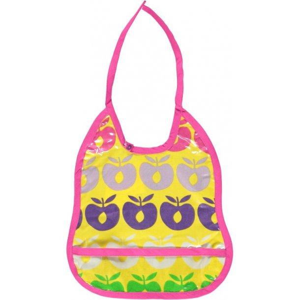 Schönes Esslätzchen mit Auffangtasche, gelb mit Pink, Lila, grüne und weiße Äpfeln, von Smafolk