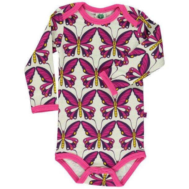 Body aus Wolle - Weiß mit pink und lilla Schmetterlingen von Småfolk