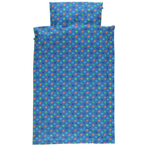 Baby  Bettwäsche, blau mit multi Äpfeln - Von Småfolk