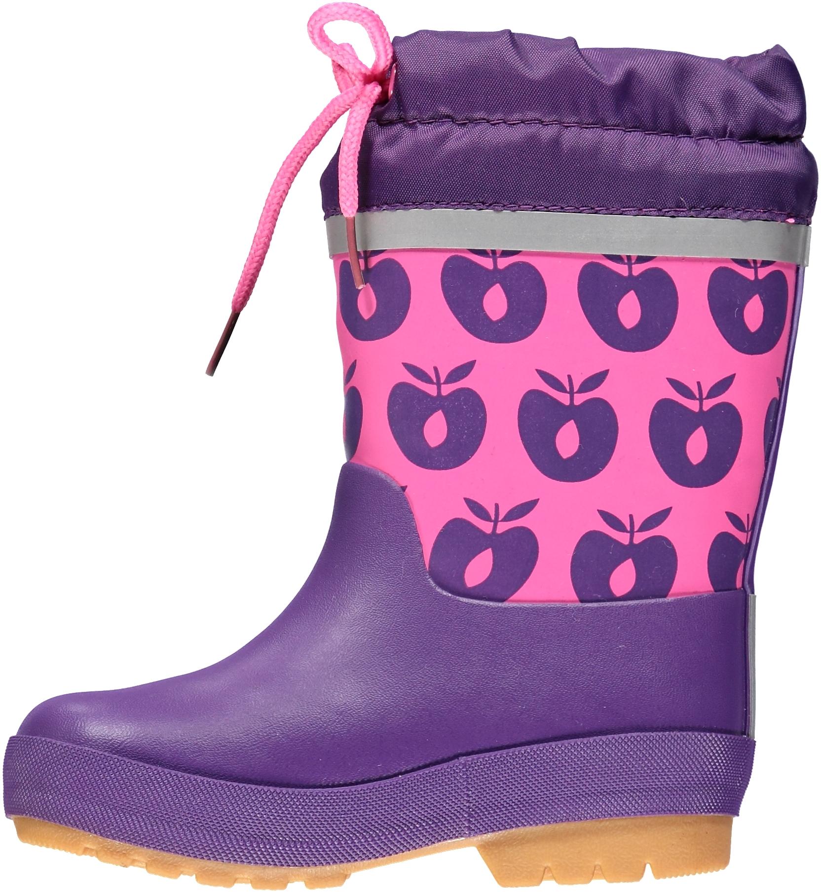 Vinter gummistøvler i lilla og pink med småfolk æbler - Al børnetøj - IsaDisaKids