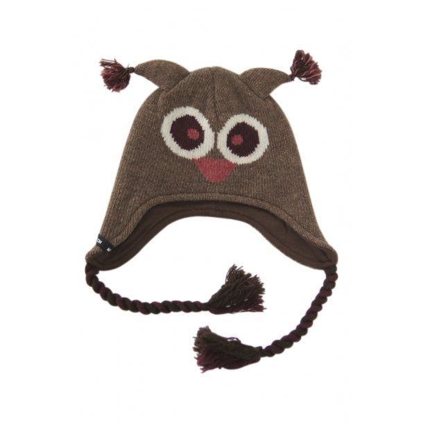 Braun Woll-mütze mit schöne Eule design von Melton
