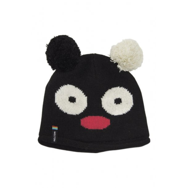 Schwarz Woll-mütze mit schöne Bären design von Melton