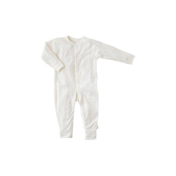 Off White Schlafanzug mit Fuß aus feiner Wolle