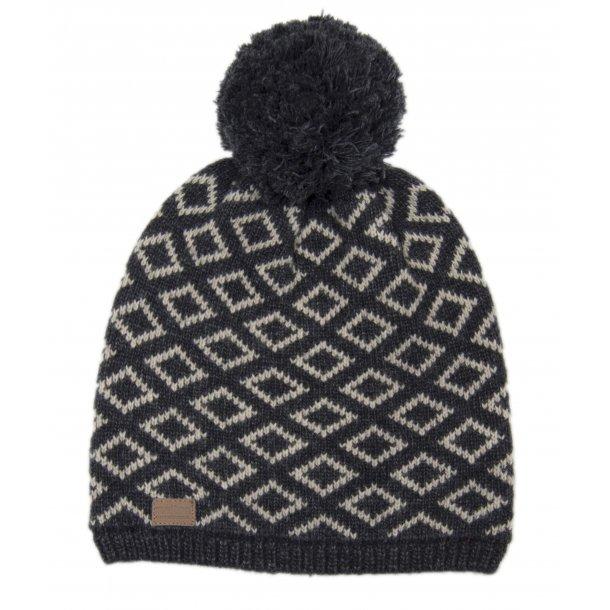Anthrazitgrau und Weiß Mütze aus Wolle - Von Melton
