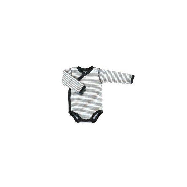 Grau weiß gestreiften wrap-arround-Body aus Wolle/Baumwolle