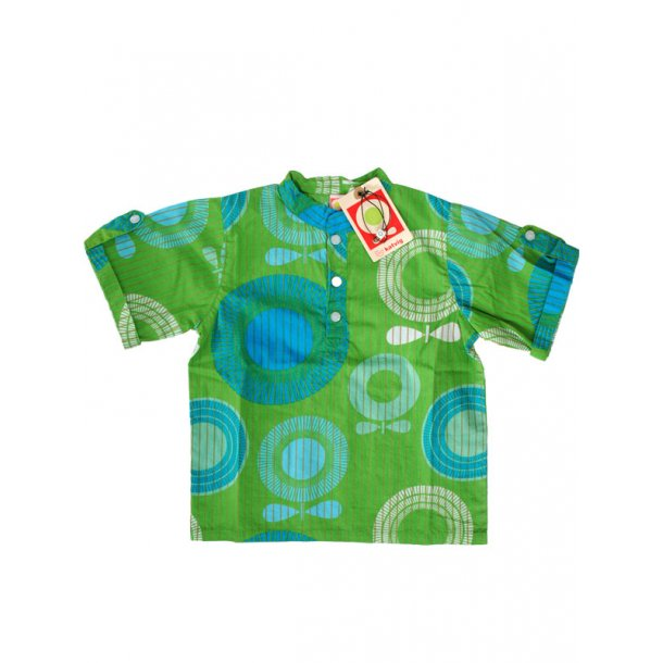 Hemd in grün mit blau Apfel Druck, ökologisch