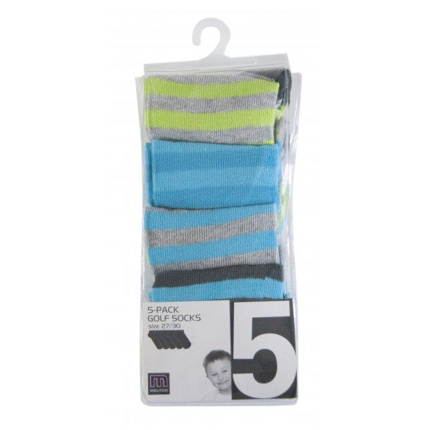 5er Pack Footies, blau, grün und grau und schwarz geringelt