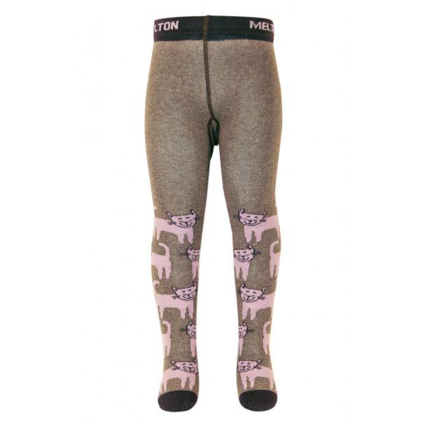 Strumpfhosen, grau mit rosa Katzen von Melton