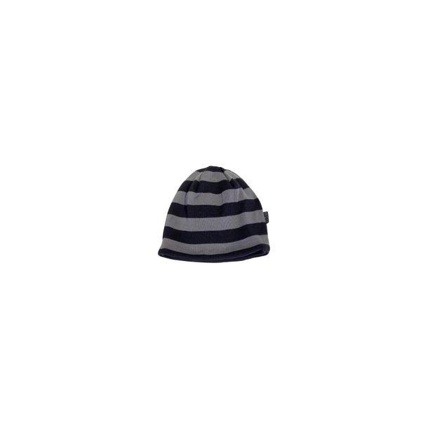 Geringelter- schwarz/grau - wend bare Mütze