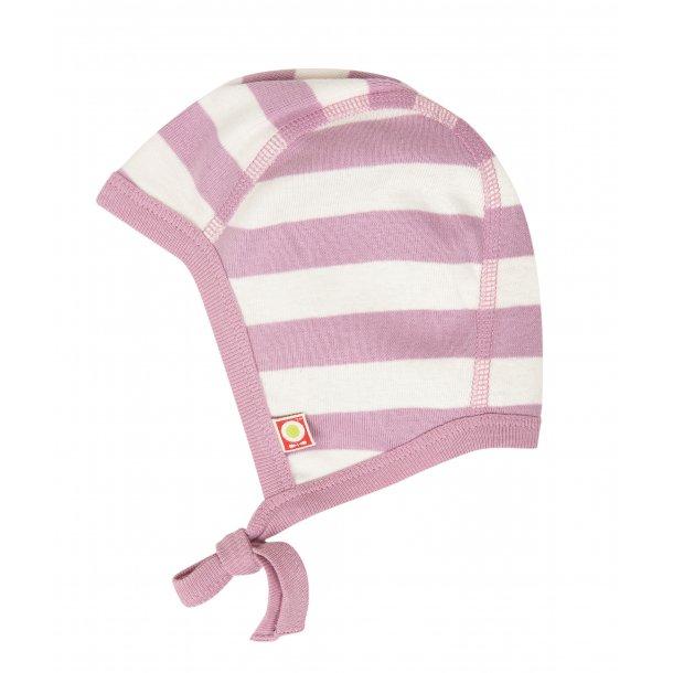 Bio babyhaube, weiss-rosa gestreiften