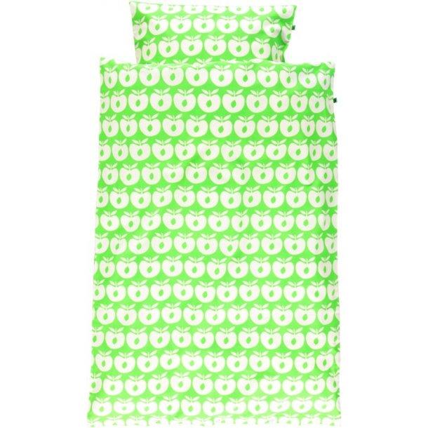 Baby Bettwäsche, hellgrün mit weiße Äpfeln, von Smafolk