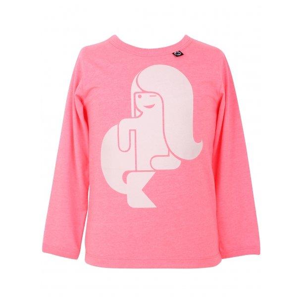 Shirt, neon pink mit Meerjungfrau