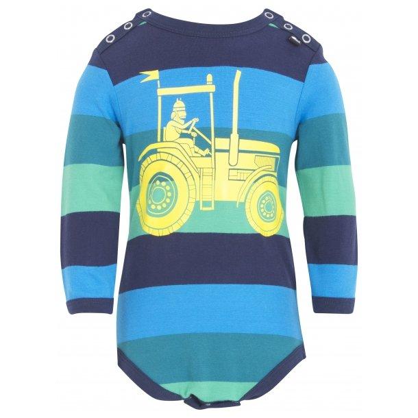 Body in grüne und Navy Farben mit einen großen gelben Traktor - fra Danefae