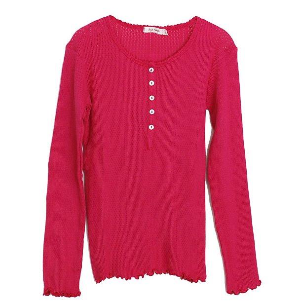 Retro Lochmuster Shirt in pink