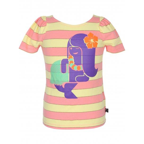 T-Shirt hell Koral und gelv gestreiften mit Lila Meerjungfrau