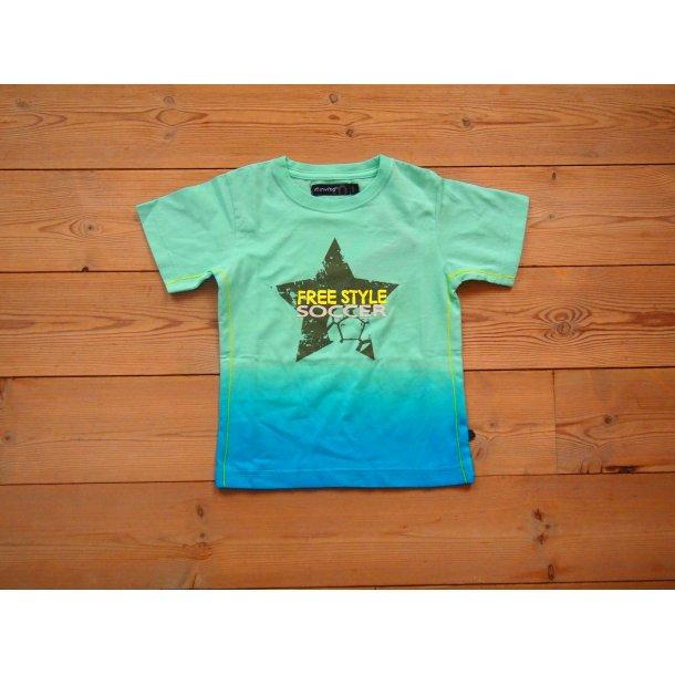 T-Shirt türkis und blau mit Stern und Neon Schrift