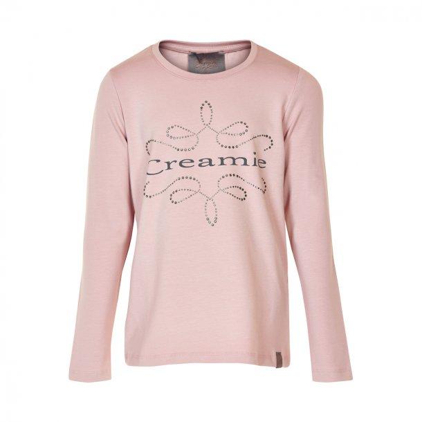 Creamie LOGO Bluse in Rosa - mit Print und Steine