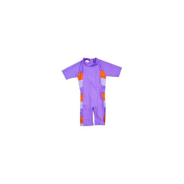 Swimsuit in lila mit orange Streifen
